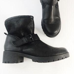 Aldo Black Vegan Leather Fur Lined Winter Bootie 6